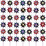 50 Pezzi Arcobaleno Girandola di Plastica, Festa Girandole Fai Da Te Prato Mulino a Vento Set per Bambini Giocattolo Giardino Festa Prato Decor, Colore Assortito