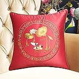 DW HCKK Chinesischen Stil Mahagoni Sofakissen Vintage Stickerei Kissen Bett Gelben Kissen im Büro-A 45x45cm(18x18inch) VersionB