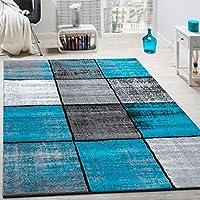 Alfombra De Diseño Moderna De Velour Corto A Cuadros Especial Mezclada Gris, Negra Y Turquesa, tamaño:80x150 cm