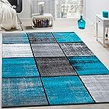 Paco Home Designer Teppich Modern Kurzflor Karos Speziell Meliert Grau Schwarz Türkis, Grösse:240x340 cm
