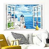 Wandaro W3390 Wandsticker Wandtattoo Wandaufkleber Offenes Fenster mit Meerblick Ausblick Meer