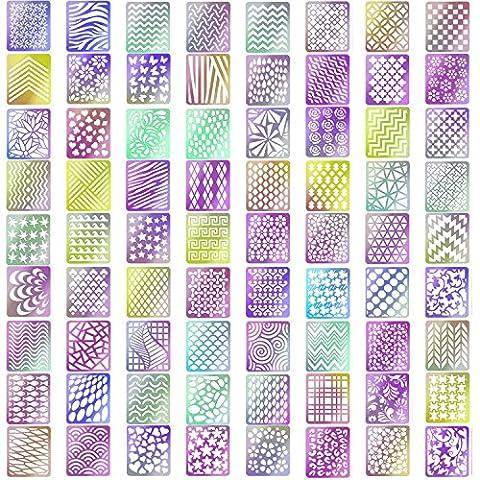 Kyerivs Nail Art Ongles Stencil Feuilles Stencil Ongles Nail Art Stickers Set,24 feuilles 72 Designs, 144 Pièces