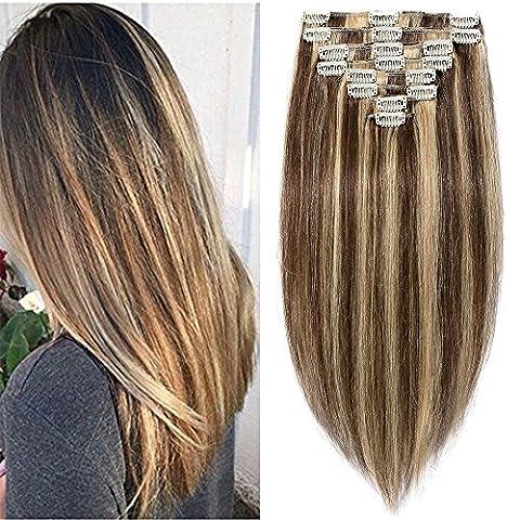 Extension a Clip Cheveux Naturel - Clip in Remy Human Hair Extensions - 8 Pcs - Epaisseur Moyenne (#4+27 MARRON CHOCOLAT MECHE BLOND FONCE, 40cm-90g)