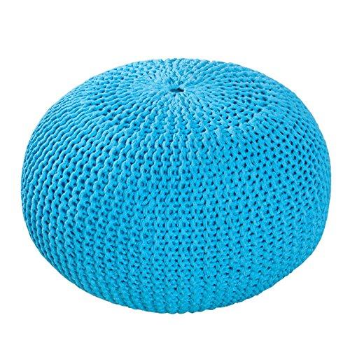 Design Pouf LEEDS 50 cm türkis blau Bezug aus Strick Garn Sitzgelegenheit Fußhocker Sitzpouf gepolstert Sitzkissen
