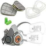 3M Kit Demi-masque 6200 Taille M Serie 6000 + Filtre Cartouche 3M 6059 ABEK1 + 3M Filtres Anti poussière 5935 P3 R et 3M Bagu