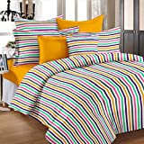 Story@Home Single Bedsheet for Single Bed with 1 Pillow Cover Combo Set - 100% Cotton - Spark Series, 208 TC, Stripes (Multicolor)