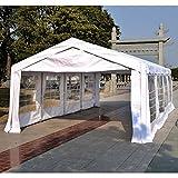 Outsunny - Gazebo da esterno tenda tendone per feste matrimonio telaio in acciaio,impermeabile, bianco outdoor 8x4m 6x4m 4x4m (8m x 4m x 2.8m) immagine