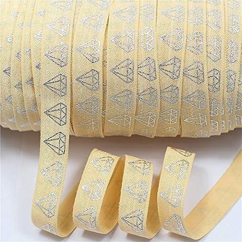 mdribbon valeur Lot de 5/20,3cm 10mètres/Lot (16mm Largeur: 9.144M Longueur) Argent Diamant Imprimé élastique repliable sur ruban Parti de mariage Celebrate Bandeau cheveux accessoire pour DIY Artisanat de 12couleurs disponibles