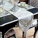 An5Xin Tissu de Coton Luxueux décoratif de Maison brodé 3D Chemin de Table de modèle Floral 3D avec Le Gland dinant la Partie 30x220cm Un début Beige