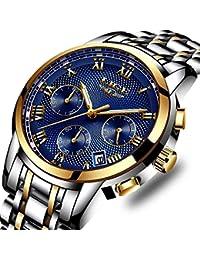 Montre à Quartz pour Hommes d'affaires avec chronographe étanche et Affichage de la Date