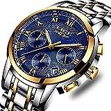 SUNWH Uhren Herren Luxus Marke Chronograph Herren Uhren wasserdicht Edelstahl Quarz Herren-Armbanduhr Blau S-01A