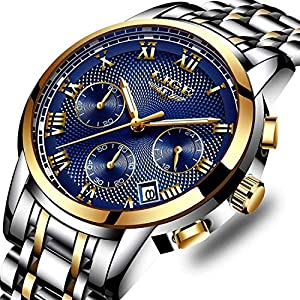 Watches, Men Fashion Business Chronograph Waterproof Watch, Stainless Steel Quartz Watch Date Display Analogue Sport Blue Watches