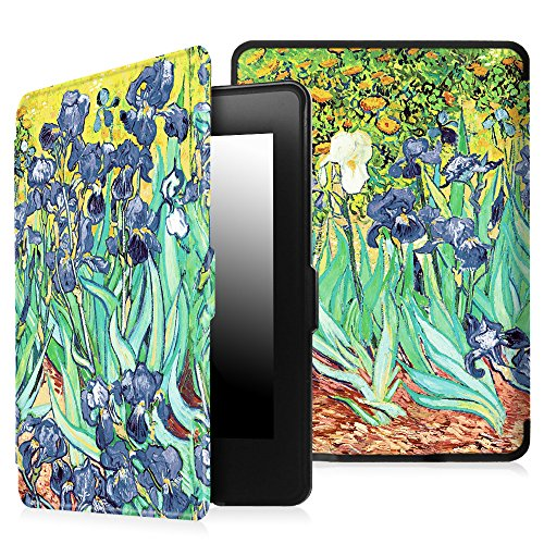 Fintie Etui Kindle Paperwhite - étui Cover Flip super fin et léger, fermeture magnétique avec mise en veille automatique pour Amazon All-New Kindle Paperwhite (Convient à touts les versions: 2012, 201 Z -Irises