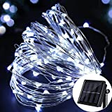 Solar Garden Lights 100 LEDs Outdoor Fairy Lights String Lights 10M/33Ft Waterproof Copper Wire Lights Wedding Festival Decorative Rope Lights Starry Lights for Outside Christmas,Party,Valentines Day (Bright White)