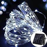 Lichterkette 100 LEDs Draußen/Innenbeleuchtung Solarbetriebene 10M Kupferdraht 2 Modi Wasserdicht IP65 für Garten,Zaun,Sonnenschirm,Terrasse,Dach,Party,Hochzeit,Festspiele und Haus Deko (Weiß, 100 LEDs)
