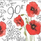 twizler für Ihre Geburtstagskarte zum 90. Geburtstag mit Silber folieren, Einzigartige Aquarell Effekt und Blumen–90Jahre–Alter 90Geburtstag Karte–Mohn