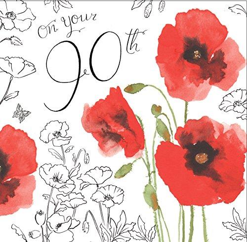 Twizler 90th Tarjeta cumpleaños Her decoración color
