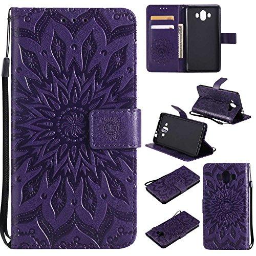 Huawei Mate 10 Hülle, Thrion Lederhülle Handyhülle mit [Frei Schutzfolie], Premium PU Tasche Leder Flip Case Cover Schutzhülle für Huawei Mate 10 - Lila