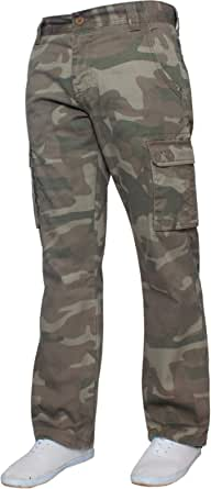 Mens Combat Cargo Trousers Camouflage Camo Summer Pants All Waists by Enzo Jeans