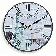 Reloj De Pared De Madera 29cm–Diseño: América Estados Unidos New York Estatua de la Libertad Números Romanos–Reloj de cocina reloj Quartz Reloj
