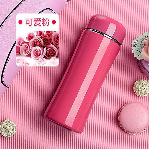 Edelstahl Kleinkind-cup (Znzbzt isoliert Tasse Mädchen tragen Creative Cup Stainless Steel Outdoor isoliert Tasse, Rose Red 260ml 12M + Kleinkind Auslauf)