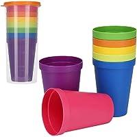 Tasse en plastique réutilisable, 7 pièces gobelets multicolores pour verres empilables verres à eau pour la fête de la…