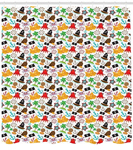 l-Muster mit lustigen maritimen Tierfiguren und Buccaneer-Thema, Piraten-Duschvorhang, Stoff-Bad-Dekor-Set mit Haken, 71 Zoll extra lang, Mehrfarbig ()