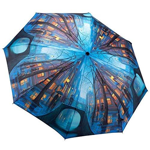 Parapluie Pliant et Automatique pour Homme ou Femme - Motif Soirée Pluvieuse