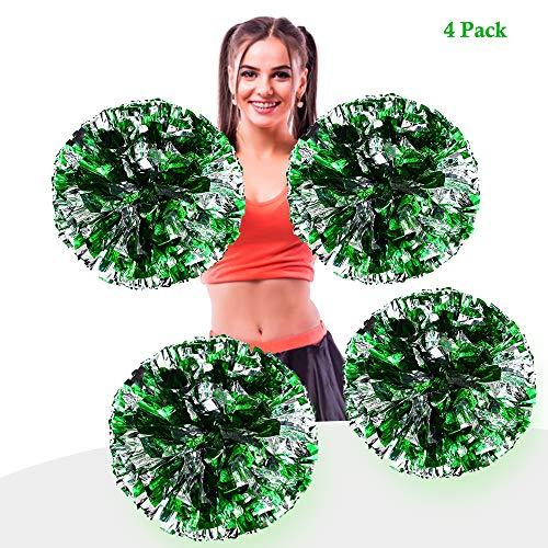 AUHOTA 4 Stück Metallfolie Cheerleading Pom Poms, Cheerleader Pompons Handblumen zum Sport Cheers Ball Dance Kostüm Nacht Party Team Spirit (6 Zoll) (Dance Team Kostüm Kinder)
