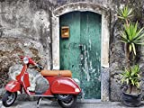 Artland Wandbilder selbstklebend aus Vliesstoff oder Vinyl-Folie Evgenia Smirnova Roter Motorroller Fahrzeuge Motorräder & Roller Fotografie Grau A5RA