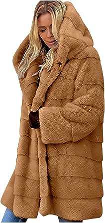 YinGTral Damen Faux-Fur Gilet Langarm Weste Body Warmer Jacke Mantel Outwear