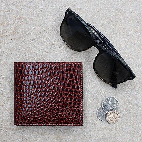 Maxwell Scott Bags® Portefeuille Cuir Hommes Luxe Imprimé Crocodile Marron Clair (Ticciano Croco) Marron Clair Croco