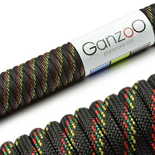 Paracord 550 corda, 15m, per Guinzaglio per cani, colore:nero,rosso,verde,giallo