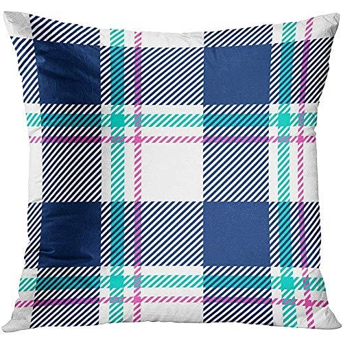 Xukmefat Throw Pillow Cover Blue Flannel Plaid Pink Buffalo Casual Check Checker Checkered Decorative Kissenbezug Home Decor Square 18x18 inches Pillowcase Pink Plaid Checker