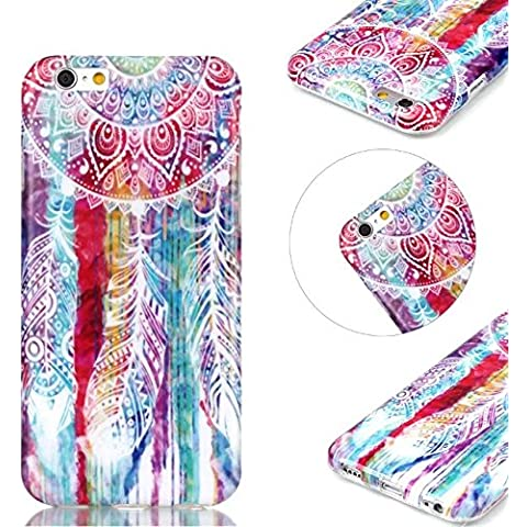 momdad Custodia TPU Silicone per Sony Xperia M4 Aqua Cover ultrasottili TPU Silicone Shell Custodia Cover Custodia Case Cover Plume Dreamcatcher iPhone 6 Plus / 6S Plus