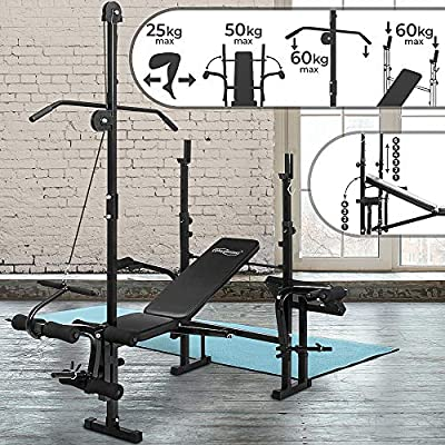 Physionics® Multifunctional Weight Bench - Barbell Rack, Leg Unit, Fly Attachment, Preacher Curl and Lat Tower (4 level Adjustable & Foldable) - Multi Gym Workout Station from FF Europe