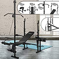 Physionics® Multifunctional Weight Bench - Barbell Rack, Leg Unit, Fly Attachment, Preacher Curl and Lat Tower (4 level Adjustable & Foldable) - Multi Gym Workout Station
