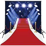 150x200cm AlgodóN Lavable Alfombra de PoliéSter Rojo Con Spotlight FotografíA de Evento TelóN de Fondo Para El Hogar Hollywoo