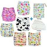 HappyCell Reusable Baby Pocket Cloth Diapers &Accessories 6 Nappies+6 Inserts+1 Wet Bag All-in-One Washable Cloth Diapers Adjustable Universal Size(Undertint Pack)
