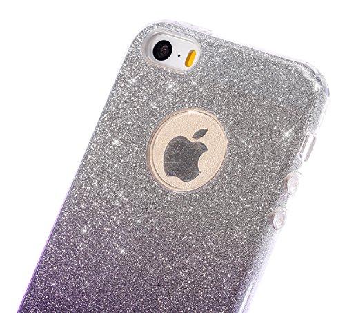 Etsue für iPhone 6S/iPhone 6 Transparent Weiche Silikon Schutzhülle, Ultradünnen Crystal Clear Transparent Zurück Etui Kratzfeste TPU Bumper Case Handyhülle für iPhone 6S/iPhone 6 + 1x Glitzer Staub S Gradient,lila