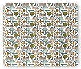 Garten Mauspad, handgezeichnete Gartenzäune mit Kelle Karotten Pflanzen Boden Samen Blumentopf Sprießen, Standardgröße Rechteck rutschfeste Gummi Mousepad, Multicolor