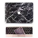 L2W Coque MacBook Pro Occasion Case Laptop Plastique Coque Rigide Housse pour Apple MacBook 2017 Neuf Pro 13 pouces (Modèle:A1708) Incluant Transparent couvercle du clavier,Marbre Noir