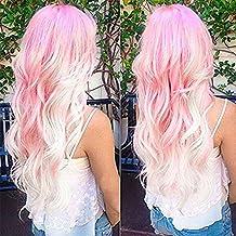 """27,5""""Ombre color rosa y blanco mezcla daliy sintético rizado peluca resistente al calor peluca completa larga para mujer fiesta Cosplay Pelucas"""
