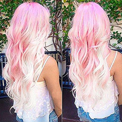 Lockige Perücke, für Damen, 69,9cm (27,5 Zoll) lang, im Ombre-Look, in den Farben rosa und weiß, für tägliche Nutzung, voluminös, hitzebeständiges Kunsthaar, Party- und Cosplay-Perücke