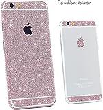 Glitzerfolie iPhone 6 iPhone 6s Diamond Skin Bling Schutzfolie Glitzer Silber Pink Gold Display Rückseite, Farbe:Pink