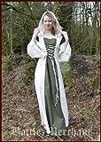 Battle-Merchant Mittelalterkleid Nele mit Kapuze, natur/olive - Wikingerkleid - Larpkleid