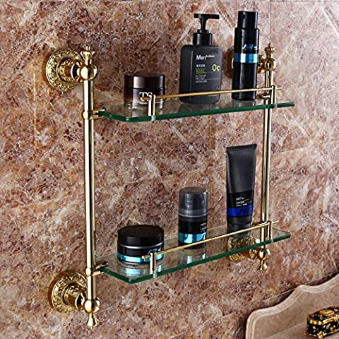 QUEEN'S Rose Gold Golden doppio vetro continentale rack rack bronzo antico bagno Dresser sanitary ware