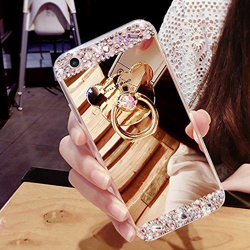 Housse pour iPhone 8 / 7, Vandot Luxe Élégant Motif Fleurs de Roses Bumper Étui pour iPhone 8 Dur PC Plastique Case Matte Cover avec Tassel Pendentif et Longe Dragonne Hand Strap Hard PC Plastic Bumpe Diamant(Ours)-Or