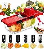 Mandoline Trancheuse BYETOO Date 6 + 1 Multi-fonction Trancheuse, Découpe les fruits et les légumes ,Mandoline légumes Slicer,Meilleur pour Carotte, Concombre, Fromage, Oignons, Tomates rouge