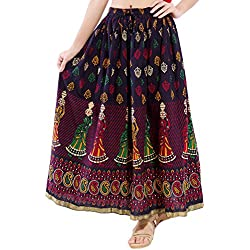 DISHA Cotton multi colur printed Straigh long Skirt for women (size: length- 39 Inches) Waist- non stretch- 26 X After Stretch- 42 Inches